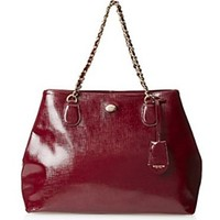 Coach Peyton Sherry Red Patent Leather Chain Tote