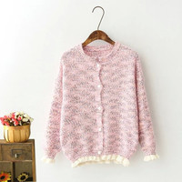 Ruffled Knitted Button Cardigan