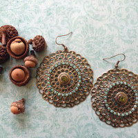 Large Intricate Antique Gold Earrings