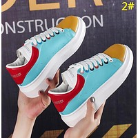 Alexander McQueen Fashion New Leather Tail Women Men Sports Leisure Contrast Color Shoes 2#