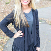 Black Binge on Fringe Cardigan