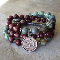 Rosewood and African Turquoise 'Beauty and Change' 54 Bead Mala Bracelet Or Necklace