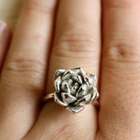 """succulent ring """"Always Summer"""" in solid sterling silver"""