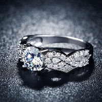 White gold plated CZ Diamond Fashion Rings for females (Infinity gift)