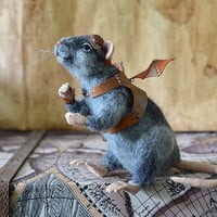 Needle felted rat Dreamer. Steampunk. Collectible toy. Realistic animal.