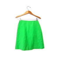 Vintage NEON GREEN wool skirt. High waist MINI skirt. School Girl Prep Nerd Geeky 80s womens skirt. Mod Fall Skirt. Small Medium