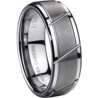 8MM Tungsten Carbide Ring Men Grooved Size 7-15