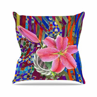 """S Seema Z """"Lily Explosion"""" Pink Mulitcolor Throw Pillow"""