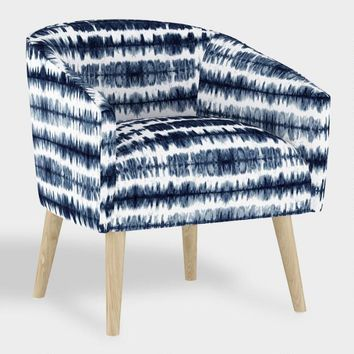 Navy And White Tie Dye Stripe Ilana Upholstered Chair