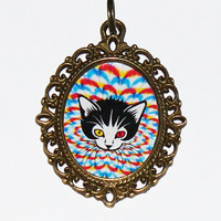 Psychedelic Cat Necklace