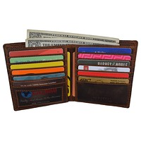 RFID Men's Slim Hipster Bifold Crazy Horse Leather Euro Wallet by Cazoro
