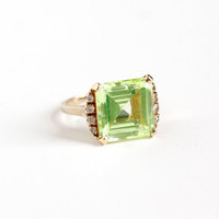 Vintage 10k Yellow Gold Created Green & White Spinel Ring - Retro Mid Century 1960s Size 5 1/4 Simulated Peridot Fine Statement Jewelry