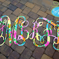 """Set of 2 preppy 18"""" Interlocking Wooden Initials Monogram Cutout Hand Painted inspired by Lilly Pulitzer prints, bedding, dorm rooms"""
