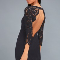 All the Stars Navy Blue Lace Backless Bodycon Dress