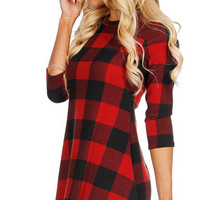 Pretty in Plaid Dress - Red