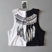 Bralette Comfortable Beach Sexy Hot Stylish Summer Crop Top Feather Print Vest [11550708111]