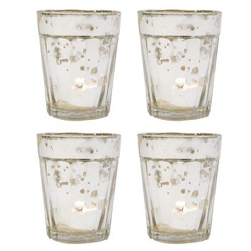 4 Pack | Vintage Mercury Glass Candle Holders (3.25-Inch, Katelyn Design, Column Motif, Silver) - For Use with Tea Lights - For Home Decor, Parties, and Wedding Decorations