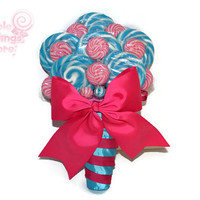 Fuschia and Turquoise Lollipop Bridal Bouquet, Candy Bouquet, Wedding Bouquet, Bridal Bouquet, Bouquet, Wedding, Rehearsal Bouquet, Pink