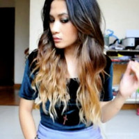 """Ombre Hair Extension,Vanessa Hudgens inspired, Reverse Ombre, Dark Brown Slow Fade to sand and toffee, (7) Pieces,20"""", Custom Your Own"""