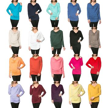 Women Scoop Cowl Neck Long Sleeve Ruched Shirring Jersey Tunic Stretch Top Shirt