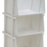 United Solutions SB0057 Mini Stack Bin Three Pack in White-3 Multi Use White Vertical Storage Organizational Bins Designed to Organize your Home or Office