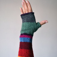 Multistriped Wool Gloves - Color Blocking Gloves - Striped Gloves- Fall Accesories - Colorful Gloves - Fashion Gloves nO. 114