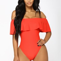 Flounce With It Swimsuit - Red