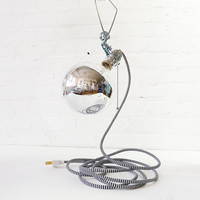 Giant Silver Bowl Clip Clamp Light with Zig Zag Cord