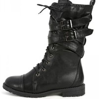MixUp Black Lace Up Strappy Combat Boots | MakeMeChic.com