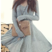 Grey Blends Women Fashion Round Neck Long Sleeve Asymmetrical Knee-Length Dress One Size FZ72261g (Color Gray) = 1920500932