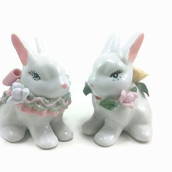 Pair of Bunny Rabbit Figurines, Pastel Pink Mint Green, Floral Sculpted Ribbon Flowers,Home,Decor, Cute Sweet Animals, Cottage Chic