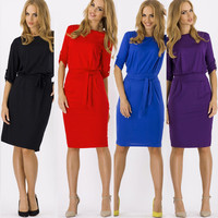 Half Sleeve Round Neck Tie Waist Midi Dress