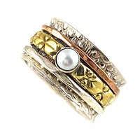 Spinner Ring - Textured Three Tone Pearl