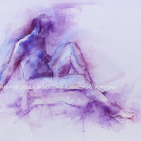 Colorful Watercolor Painting of Seated Figure in Purples and Blues