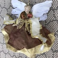 Christmas Angel Ornament Feather Wings Renaissance