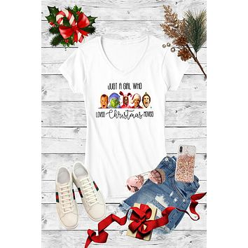 Just a Girl Who Loves Christmas Movies Canvas Girlie V-Neck T Shirt