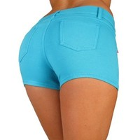 Basic Short Shorts Premium Stretch French Terry Moleton With a gentle butt lifting stitching in Turquoise Size S