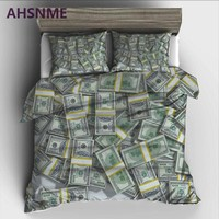 AHSNME decoration dollar money Bedding Set High-definition Print Quilt Cover for RU AU EU King Double Size Market jogo de cama