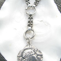 Antique Sterling Book Chain Necklace with Art Nouveau Pendant, Beautiful Together or Separately, Pendant Engraved 1905