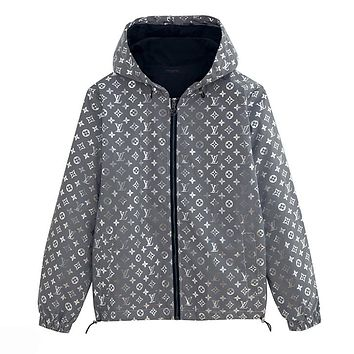 LV Louis Vuitton Newest Women Men Reflective Hoodie Zipper Jacket Coat Windbreaker Sportswear Grey
