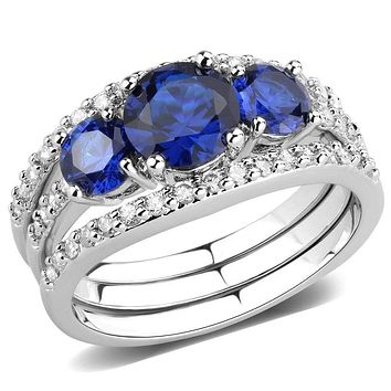 Right Hand Ring 3W1566 Rhodium Brass Ring with Synthetic in London Blue