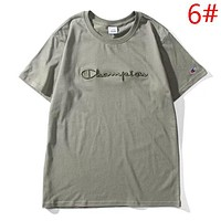 Champion New Summer Fashion Bust Embroidery Letter Sports Leisure Women Men Top T-Shirt