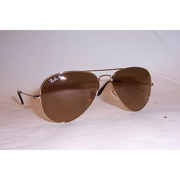 NEW RAY BAN AVIATOR Sunglasses 3025 001/M2 GOLD/BROWN 58MM POLARIZED AUTHENTIC