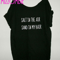 SUMMER BEACH salt in the air sand in my hair spring break off the shoulder tee shirt women ladies slouchy flowy top