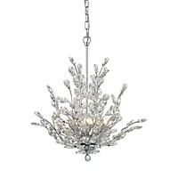 Crystique 6-Light Chandelier in Polished Chrome with Branch Metalwork and Clear Crystal