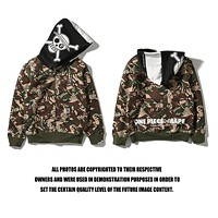 BAPE x One Piece Embroidery hooded velvet sweater M ~ 2XL