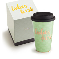 Ladies First Porcelain and Gold Travel Mug