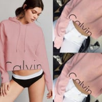 Calvin Print Short Crop Top Hooded Pullover Hoodies Sweater