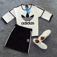 "Women Fashion ""Adidas"" Print Short sleeve Top Short skirts Casual Set Two-Piece"
