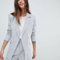 Y.A.S Stripe Summer Double Breasted Blazer Two-Piece at asos.com